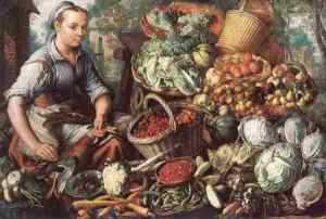 Market woman with fruit and vegetables Beuckelaer 1564