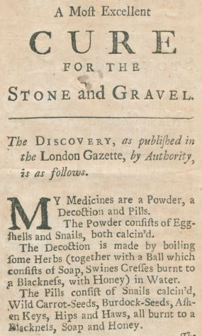 Cure for Stone and Gravel 1740