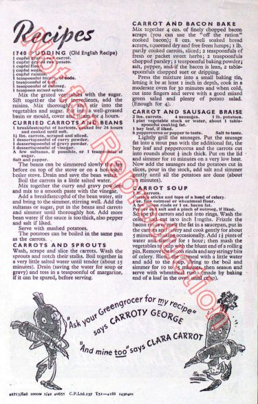 Disney Pop Carrot Recipe Leaflet WW2