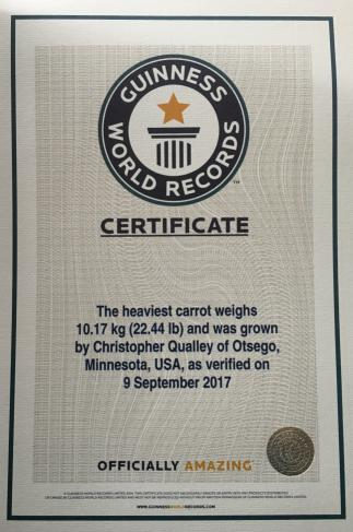 world record heavy carrot chris qualley