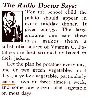 ww2 advert radio doctor - carrots