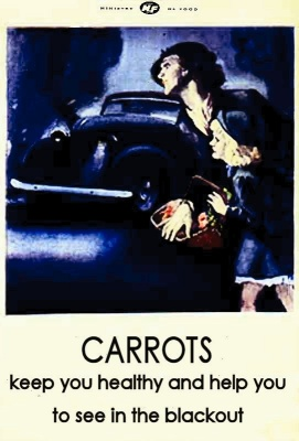 Carrots help you see in the dark poster